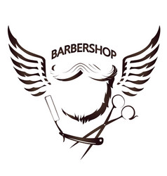 beard and wings for barbershop vector image