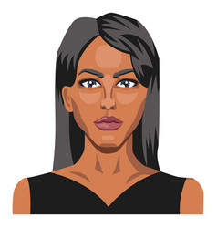 beautifu caucasianl girl with long black hair on vector image