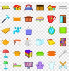 big house icons set cartoon style vector image