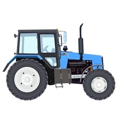 Blue new tractor Agricultural machinery Wheeled vector image