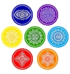 Bohemian indian chakra mandalas vintage henna vector