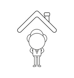 businessman character standing under house roof vector image