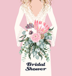 card with bride and wedding bouquet vector image