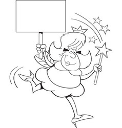 Cartoon fairy godmother holding a sign vector