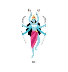 Cartoon kali - hindu goddess with six arms vector