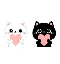 cat kitten kitty head face holding big pink heart vector image