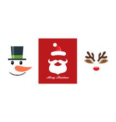 christmas icon set snowman santa claus and vector image