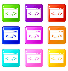Code window icons 9 set vector