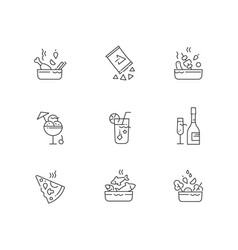 collection various food line icons restaurant vector image