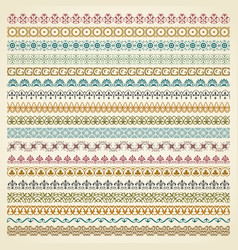 colorful decorative borders in vintage style vector image