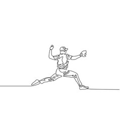 continuous line baseball player pitcher throw the vector image