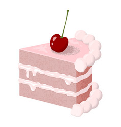 creamy slice cake with a cherry isolated on vector image