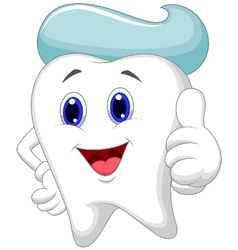 Cute tooth cartoon giving a thumb up vector