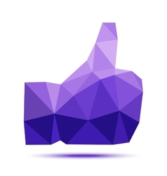 Dark violet geometric triangular polygonal thumb vector image