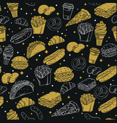 fast food seamless pattern with vector image vector image