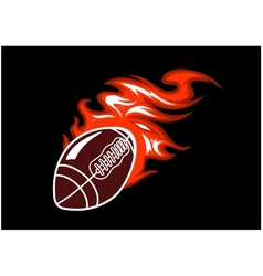 Flaming rugby ball vector