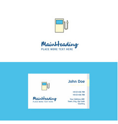 flat fuel station logo and visiting card template vector image