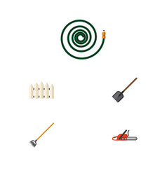 Flat icon dacha set of shovel hosepipe tool and vector