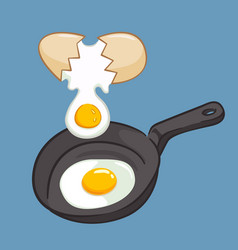 frying eggs on a pan vector image
