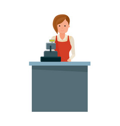 Girl grocery store seller behind the cash register vector
