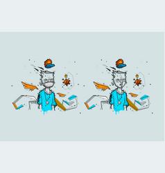graffiti guy coronavirus ncov and medical mask vector image