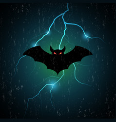 Halloween bat fly and thunderbolt vector