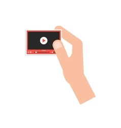 hand holding little video player card vector image