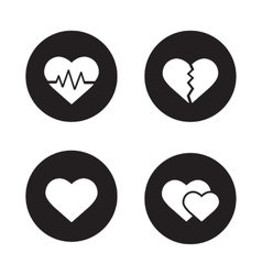 Heart shapes black icons set vector image
