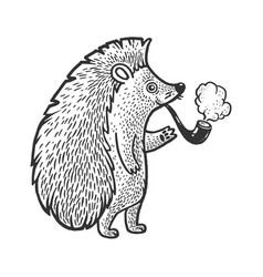 Hedgehog smoking pipe sketch vector