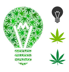 Hint bulb collage weed leaves vector