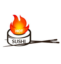 Hot rolls and sushi silhouette vector