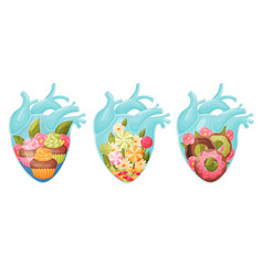 Human hearts with vessels and scenes with sweet vector