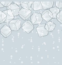 Ice cubes and soda bubbles seamless pattern vector