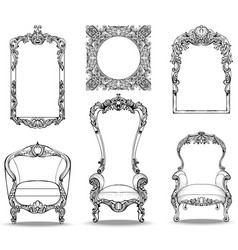 imperial baroque armchairs set with luxurious vector image