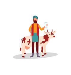 indian farmer in turban standing with glass of vector image