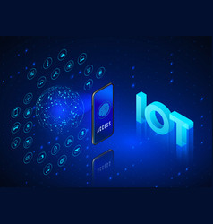 internet things concept iot isometric banner vector image