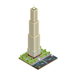Isometric city houses composition with building vector