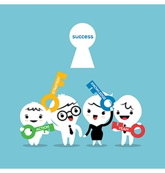 key to success business strategy concept cartoon vector image