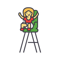 Kid in the child chair concept line icon vector