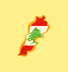 Lebanon - map colored with lebanese flag vector