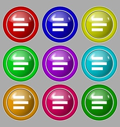 Left-aligned icon sign Symbol on nine round vector
