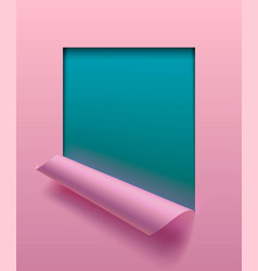 Light pink paper sheet partially rolled up with vector