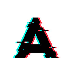 Logo letter a glitch distortion vector
