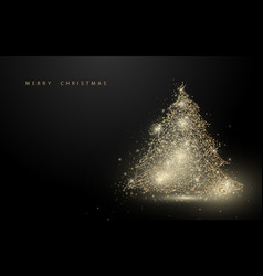 low polygon gold christmas tree wireframe mesh vector image