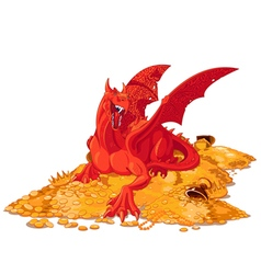 Magic Dragon on the Pile of Gold vector image