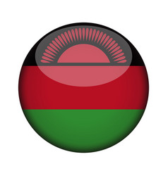 Malawi flag in glossy round button of icon malawi vector