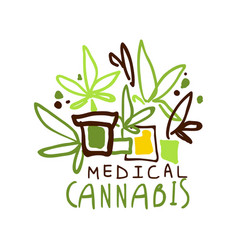 Medical cannabis label logo graphic template vector