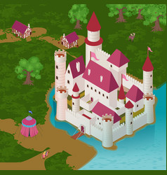 medieval castle isometric vector image