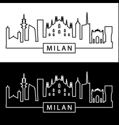Milan skyline linear style editable file vector