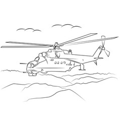 military helicopter flying vector image